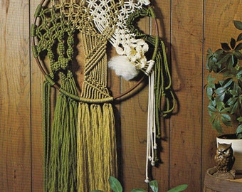 "1970s ""In The Round"" Green Gold Cream Fiber Artist's Delight Bohemian MACRAMÉ Wall Art Hanging - Instant PDF Digital Download PATTERN"