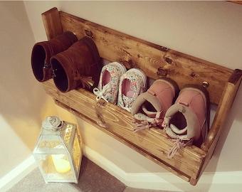 Shabby Chic Wooden Shoe Racks Rustic Vintage Shoe / Display Shelf Space saver Shoe Storage
