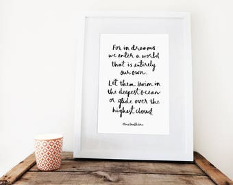For in dreams - Dumbledore quote // A4 print