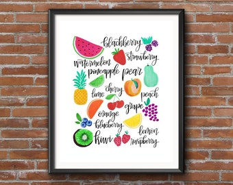 Market Fruit Medley | Hand lettered and hand drawn | Summer fruits illustrated | Kitchen Printable Home Decor | 8x10