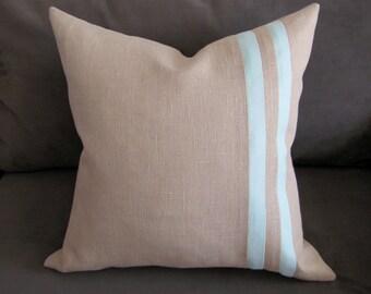 Aqua Throw Pillow, Linen Decorative Pillow with Aqua Stripes, 20x20 Pillow Cover, Natural Colored Linen Pillow