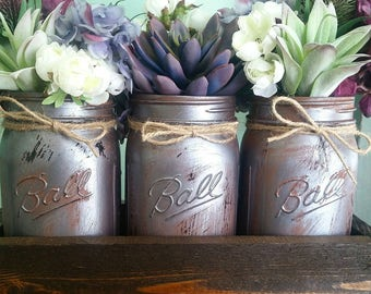 Mason Jar Centerpiece   Succulent Plant Decor   Personalized Home Decor    Succulent Plants   Mason