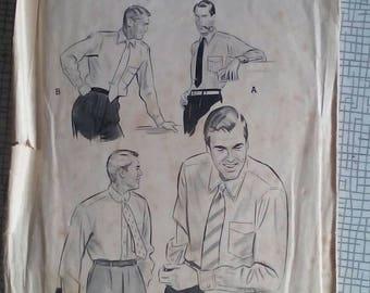 "1950s Shirt - 14.5"" Neck - Butterick 6319 - Vintage Sewing Pattern"