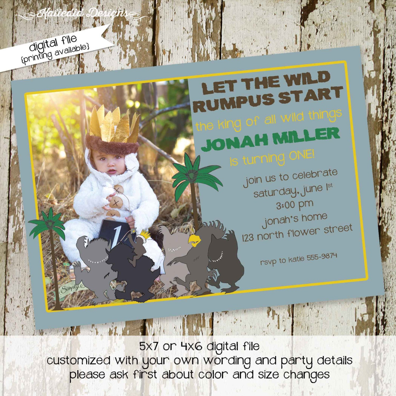 where the wild things are wild one birthday baby shower invitation ...