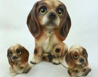 Vintage 1950s Beagle Dog Family Mom Puppies on Gold Chain Ceramic Figurines Made in Japan