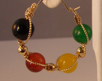 Multi-color Agate and Rolled Gold Earrings