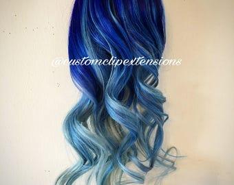 Balayage Blue  Clip Hair Extensions : BluesClip In Hair Extensions, Blue Hair Extensions, Pastel Blue Hair, Custom Made