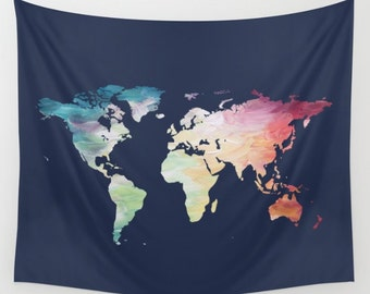 World map tapestry etsy map tapestry navy tapestry world map wall hanging globe tapestry world map decor painted map color map wall hanging travel tapestry gumiabroncs Choice Image