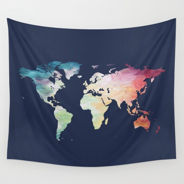 Map tapestry navy tapestry world map wall hanging globe zoom gumiabroncs Image collections