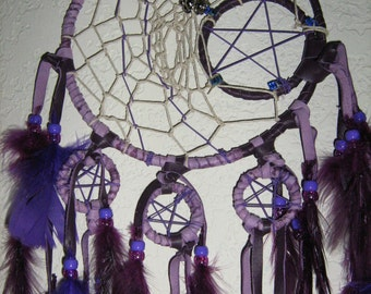 Dragonfly's Purple Majesty a handcrafted dreamcatcher, bring some magic into your heart,imagination will soar,a waterfall of purple feather