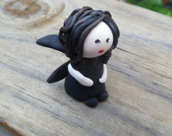 Mini Fairy in Black with Pale Skin and Black Hair in Medium Straight Style