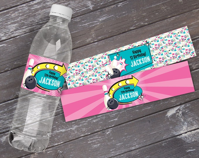 Bowling Party Water Labels or Wrappers - Bowling Bash, Bowling Birthday - Pink, with 2 Different Wraps | INSTANT Download Printable PDFs