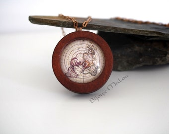 Wooden Antique North Pole Map Necklace Wood World Map Necklace Eco Jewellery Real Chain Copper World Map Jewellery Wood Jewellery