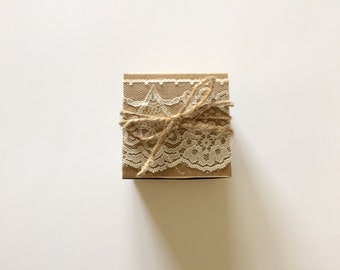 50 Wedding favor box - lace favor box - rustic wedding - bridal shower favor box - lace fabric