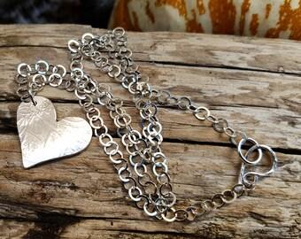 Handmade Reversible Sterling Silver Heart Pendant