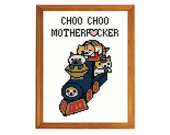 "Conductor Whiskers Neko Atsume Cross-Stitch Pattern - ""Choo Choo Motherf*cker"""