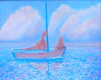 Sailboat paintings, Impressionistic, paintings of sailboats, Sailboat at anchor, pink and light blue make for a pastel combination, I like