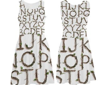 Twigs Alphabet Skater Dress - printed photographic sticks alphabet tank dress - USA XS-3XL