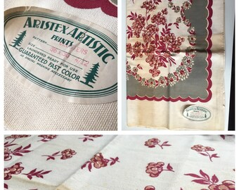 Delightful 1940's Aristex Artistic Cotton Floral Tablecloth Unused with Original Paper Label!