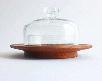 hygge Kay Bojesen server with lid, Danish teak and glass vintage, small
