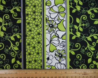 Black, Green and White Floral Stripe - Fabri Quilt - Odd Size  # B/G-O-1