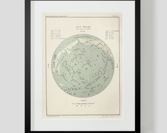 April Star Chart Constellations Popular Guide to the Heavens Plate 42 Vintage Art Print