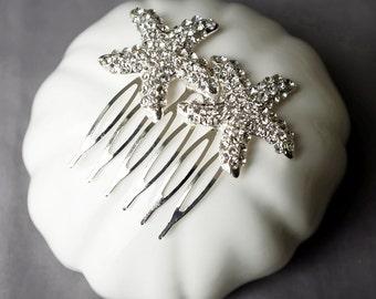 Bridal Rhinestone Hair Comb Double Crystal Starfish Hair Comb Hair Clip Wedding Hair Accessories Beach Wedding Jewelry CM096LX
