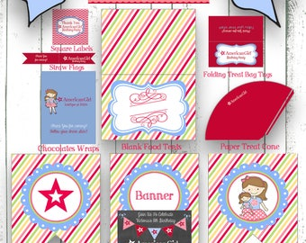 American Girl with Glasses Party Printable Package ***INSTANT DOWNLOAD***