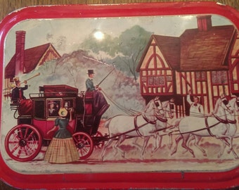 Cool Old Vintage Cookie Tin, possibly Fruit Cake Tin featuring a Horse & Wagon, Victorian Era Scene