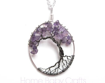 Amethyst Tree of Life Necklace-Tree Jewelry  Black, Gray Gunmetal, Silver, Lavender, Purple, Self control