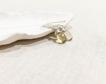 Beer Quartz and Sterling Silver Drops - Yellow Beer Quartz Wire Wrapped in Sterling Silver Petite Simple Small Faceted Gemstone Earrings