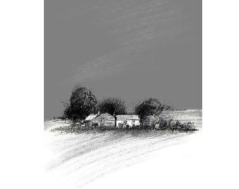 Yorkshire farm | Limited edition fine art print from original drawing. Free shipping.