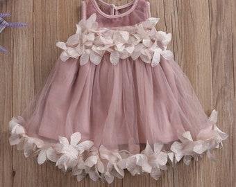 Flower girl dress, wedding, birthday, Tutu, party girl dress, ivory girl dress, baby.