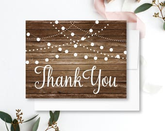 Rustic Wedding Thank You Card Country Chic Hanging Lights Fall Wedding Rustic Wedding Wedding Thanks Wedding Card Wedding Note #CL101