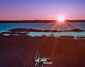 Prints and Framing Available -Sunset at Sandy Point, Portsmouth, RI