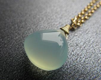 Seafoam Chalcedony Necklace, Gemstone Drop Necklace, Aqua Blue, Seafoam Green, Gold-Filled, Minimalist Necklace, Beach Jewelry - Sea Mist