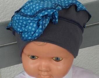 Hat grey cotton jersey newborn baby hat and blue polka dot