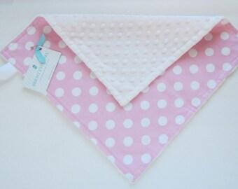 Mini Minky Blanket, Lovey Blanket, with Pacifier Loop, Pink Polka Dot, White Minky Dimple Dot