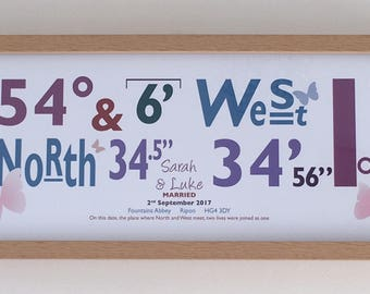 Personalised Wedding Gift - co ordinates of that special day