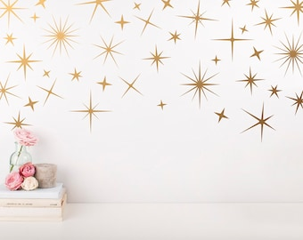 Sparkle Wall Decals - Gold Star Decals, Nursery Wall Decals, Star Wall Stickers, Removable Wall Decals, Sparkle Wall Stickers