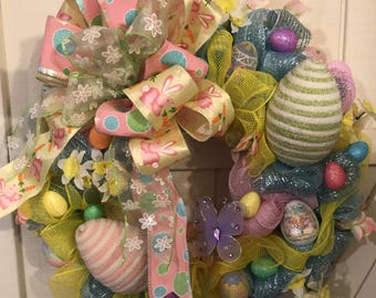 Easter Egg Spring Deco Mesh Wreath