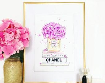 Chanel Bouquet (chanel, fashion illustration, Deco, girlfriend, gift, handmade)