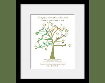 Wedding Anniversary Gift, Special Anniversary Gift, Parents Gift, Grandparents Gift, Family Tree Print, Christmas Gift, Thank You Gift