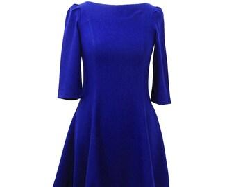 Royal Blue Winter Dress, Spanish Blue, Deep Blue, Flared Dress, Vintage Blue Dress, Winter Dress, Mixed Wool Dress UK Size 10