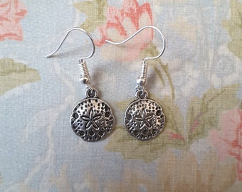 Earrings Sand Dollar Silver Earrings  Free Shipping