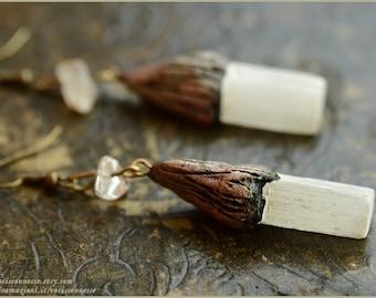 Selenite lunar earrings - handmade OOAK - Handmade jewelry sculpt