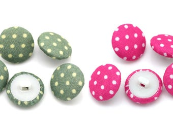 20 x Polka Dot Fabric covered shank buttons 14mm - Green or Pink - FB01