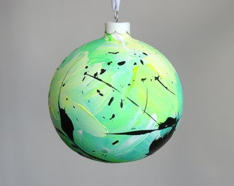Hand Painted Ceramic Bauble // Christmas Decoration // Green, Yellow and White // God Colours Collection 034 // Ornament