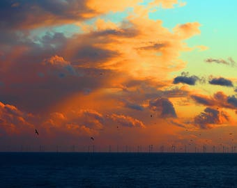 Brighton Sunset Photography Print, Sunset Photo, Wind Farm, Large Wall Art