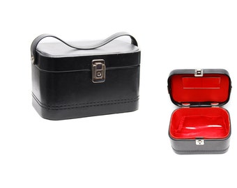 Vintage vanity case, black and red leather imitation train luggage makeup storage bag with top handle, mirror and slip sections, 1970s